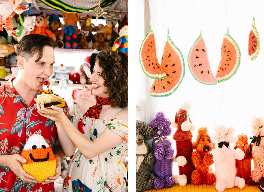 crochet museum engagement shoot joshua tree