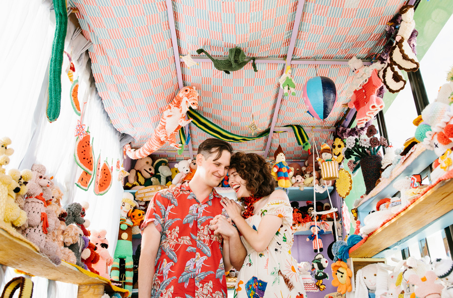 crochet museum colorful joshua tree engagement shoot