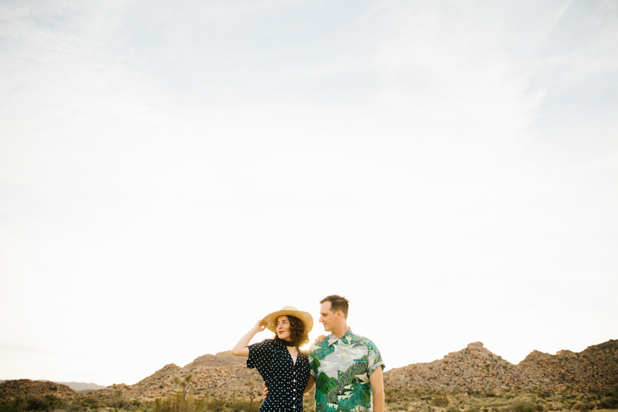 colorful vintage joshua tree engagement shoot